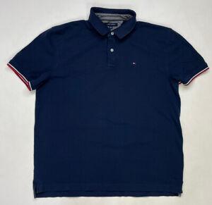 Tommy Hilfiger Polo Shirt Men Adult XL Navy Blue Short Sleeve