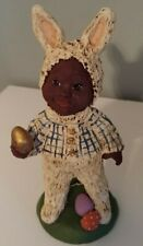 Black Child Dressed in Bunny Suit Figurine. Constance Collection. Signed. LTD.
