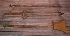 ANTIQUE VICTORIAN OLD SOLID BRASS FIRE COMPANION TOOL SET LOG BURNER OPEN FIRE
