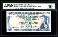 Fiji $20 ND 1968 P. 63a 1st Prefix A/1 Low Number #33 PMG 40 EF Scarce Note