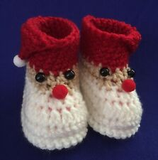 Brand New - handmade, crochet baby Santa / Xmas / Christmas booties