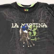 La Martina Men's T-Shirt Polo Club Short Sleeve Gray • Large