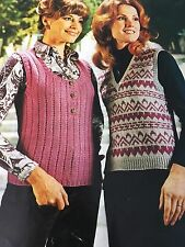 """Knitting Pattern Women Ladies Tank Top DK Fair isle Sizes 32-38"""" Vintage"""