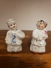 Mid Century Modern Asian Bell Boy & Flower Girl Salt & Pepper Shakers made Japan