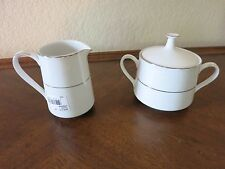 NORITAKE TAHOE SUGAR BOWL WITH LID AND CREAMER