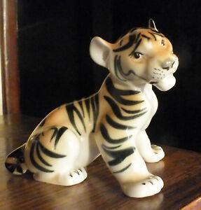 Adorable Vintage Porcelain Tiger Cub Figurine  Lomonosov Russia : Wildlife..