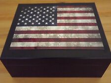 Vintage Old Glory USA Flag Spanish Cedar Black Desktop 50 Cigar Count Humidor