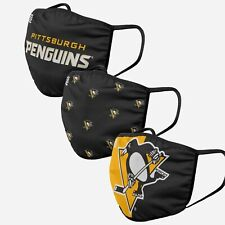 Pittsburgh Penguins NHL Hockey Foco Pack 3 Adult Face Covering Mask Dual Layer