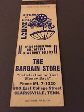 The Bargain Store Clarksville TN Tennessee Matchbook Matchcover