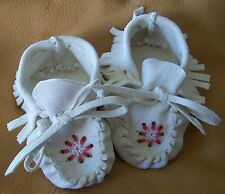 SMALL Beaded Buckskin Baby moccasins