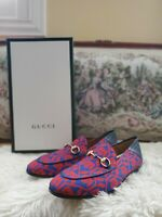 Gucci Geometric Skulls Print/Agnello Plong Loafers Men Size G7/US8 MSRP $680...