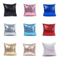 Glitter Sequins Square Cushion Cover Waist Throw Pillow Case DIY Car Sofa Home X