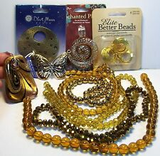 JEWELRY MAKING SUPPLIES LOT-SHADES OF GOLD-GLASS-CRYSTAL BEADS-LAMPWORK-PENDANTS