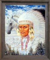 Indian Chief and Horse Native American Wall Decor Barnwood Framed Picture 19x23