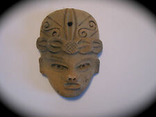 VINTAGE MAYAN AZTEC PRIMITIVE CLAY POTTERY  MASK  HAND CARVED WALL FOLK ART