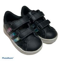 Adidas Baby Grand Court Shoes Black Leather Multicolored Stripes Size 6