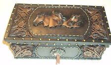 Western Cowboy, Horses, Cowgirl, Leather Strips, Flowers, Jewelry Box, NEW