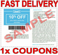 1× Lowes 10% OFF FAST DELIVERY-1COUPONS INSTORE DISCOUNT 𝐄𝐗𝐏 𝟕/15