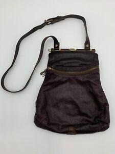 Handmade Jas MB London Dark Chocolate Brown Leather Crossbody Brass Hardware