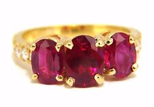 GIA Certified 4.94ct natural vivid red ruby diamonds ring 18kt origin+