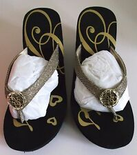 GUESS WOMEN'S FLIP FLOP WEDGE SANDALS CLOGS SHANDE2 SIZE 7M NEW IN ORIG BOX