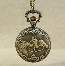 Vintage Copper Bronze Horse Engrave Quartz Pocket Watch Pendant Chain Necklace A
