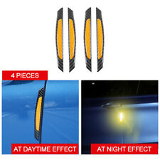 4X real Carbon Fiber Yellow Reflective anti-collision Car Side Door Edge Sticker
