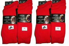12 PAIRS MENS EVERYDAY USE LYCRA SOCKS COMFORTABLE RED/NAVY/GRAY/BLACK 6-11