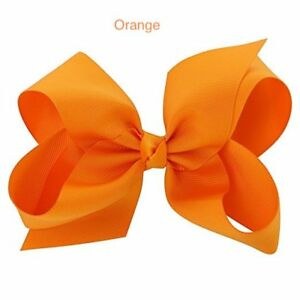 "6"" Orange Hair Bows Jojo Style Clip Large - Girls Teens Kids School Dance Party"
