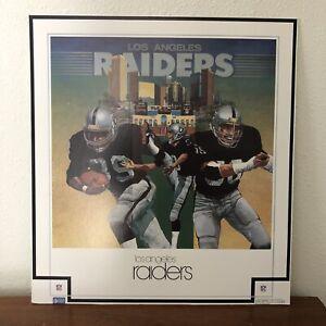 Vintage Los Angeles Raiders Mounted Poster 1983 NFL