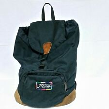 VTG Jansport Leather Bottom Backpack Rainbow Gym Bag Hiking Sports Satchel USA