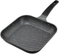 24 & 28cm Non-Stick Cast Aluminium Marble Coated BBQ Griddle Frying Grill Pan