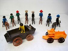 Lot of 20 Vintage 1974 Geobra Playmobil Toys (Horses & Figures & Wagons)