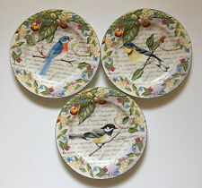 """American Atelier at Home Morning Song Bird Salad/Dessert Plates 8¼""""~Set of 3"""