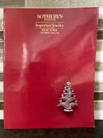 Sotheby's Important Jewelry NEW YORK Auction Catalog December 1988 RARE