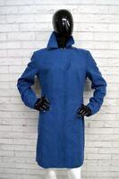 Cappotto Blu Donna BENETTON Taglia Size 48 Jacket Woman Giacca Lunga Lana Wool