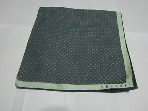 """USED BLUE WITH GRAY POLKA DOT PATTERN COTTON 18"""" POCKET SQUARE HANDKERCHIEF MEN"""