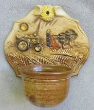 Vintage Bob Anderson Sunflower Pottery Wall Pocket Candle Holder Tractor Farm