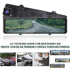 "12""Car DVR Dash Camera HD 1080P 170° Front and Rear Mirror Camera Video Recorder"
