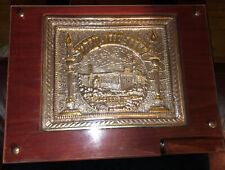 Sterling Silver 925 Shabbat Carved Tray Inset In Mahogany Wood With Glass Cover