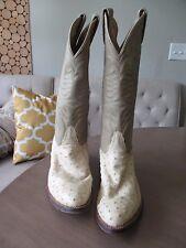 VINTAGE Ivory Cream Tony Lama Ostrich Boots Color mens 6.5D women's 8.5
