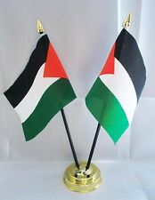 PALESTINE X2 TABLE FLAG SET 2 flags plus GOLDEN BASE PALESTINIAN