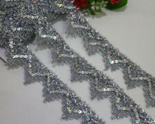 LOT 7 Yards Venise/Venice Metallic Silver Sequins Lace Trims For Sewing Wide 4cm