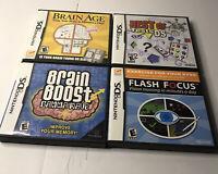 Lot Of 4 Nintendo DS Brain Games: Brain Age, Brain Boost, Flash Focus, B Tests