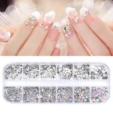 UK 3D Nail Rhinestone Pearls Gem Mixed Diamante AB Bead Nail Card Decoration