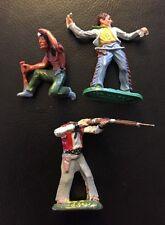 3 Elastolin Masse Cowboy 7,5 cm Serie Indianer Restaurationsbedürftig
