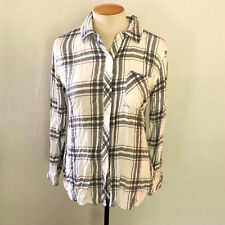 Rails M Flannel Shirt Blouse Gray Pink Long Sleeve Collared Button Down Plaid