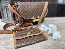 Authentic Celine Vintage Macadam W Wallet (set) Flap Crossbody Bag🌺