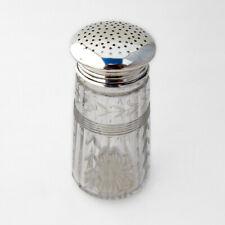 Foliate Cut Glass Sugar Shaker Sterling Silver 1930