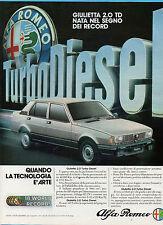 GENTEMOTORI983-PUBBLICITA'/ADVERTISING-1983- ALFA ROMEO GIULIETTA 2.0 TD